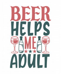 Beer Helps Me Adult T-shirt