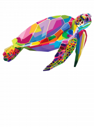 Colorful Turtle Floating Sea Tortoise Geometric Animal Gift T-shirt
