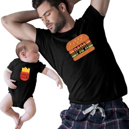 Burger And Fries Family Matching Shirts