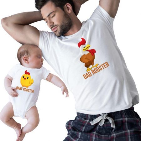 Baby And Dad Rooster Matching Shirts