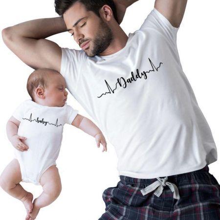 Daddy & Baby Heartbeat Matching Shirts