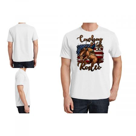 Cowboy Up Rodeo Bucking Bronco T-Shirt Limited Edition