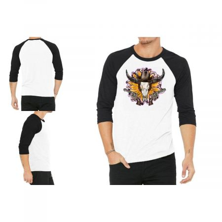 Sunflower Cow Skull And Gun 3/4 Sleeve Shirt Limited Edition